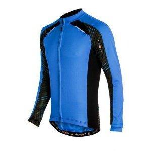 Велофутболка Funkier J-730-6-L, со светроотражателем, с длинным рукавом, синяя, с молнией велофутболка 16 011 j russia pro с лого россия с молнией s бело сине красная funkierbike