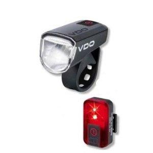 Фара+фонарь VDO Li-Ion АКБ USB-заряд, 1д 30 LUX. + Li-Ion АКБ USB-заряд, красный, 4-4000