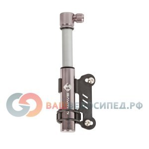 Насос велосипедный мини M-WAVE алюминиевый, 120 мм., до 6 бар/85PSI, серебристый, 5-470268