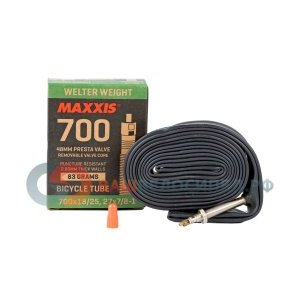 Велокамера Maxxis Welter, 700x18/25C, Presta, 48mm, Weight, 0.9mm, черная, велониппель IB81555100